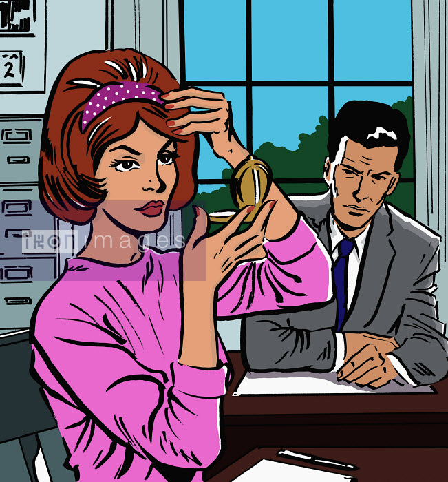 Woman fixing her hair in office - Woman fixing her hair in office - Jacquie Boyd