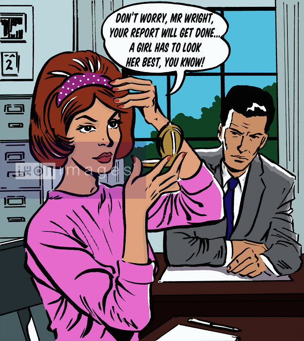 Woman fixing her hair in boss's office - Woman fixing her hair in boss's office - Jacquie Boyd