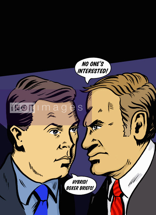 Businessmen arguing in speech bubbles - Businessmen arguing in speech bubbles - Jacquie Boyd