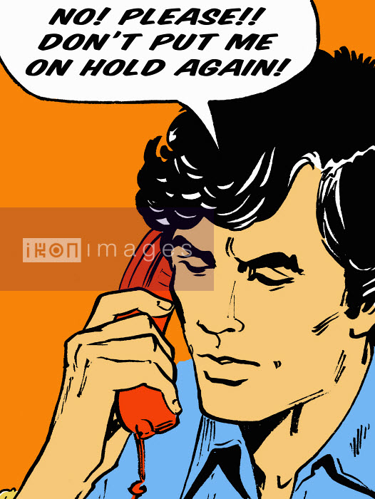 Frustrated man on telephone talking in speech bubble - Frustrated man on telephone talking in speech bubble - Jacquie Boyd