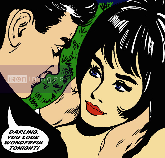 Man complimenting girlfriend in speech bubble - Man complimenting girlfriend in speech bubble - Jacquie Boyd