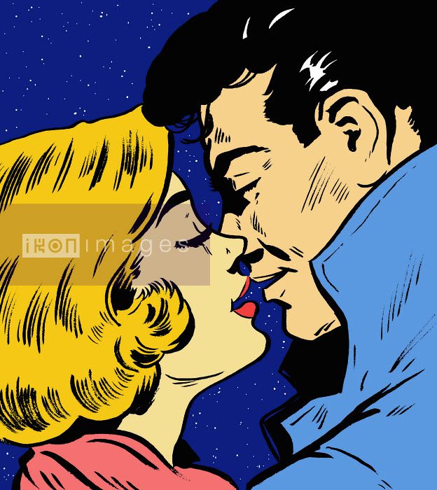 Close up of couple kissing under night sky - Close up of couple kissing under night sky - Jacquie Boyd