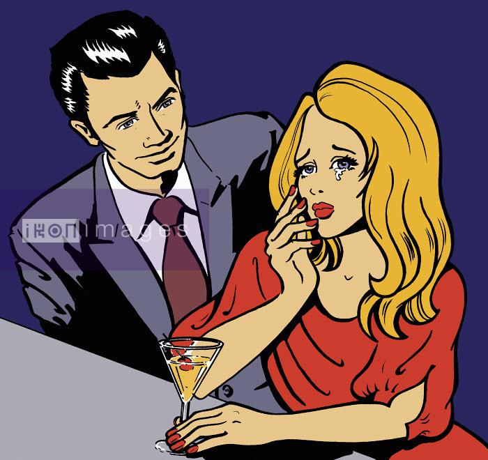 Man approaching crying woman in bar - Man approaching crying woman in bar - Jacquie Boyd