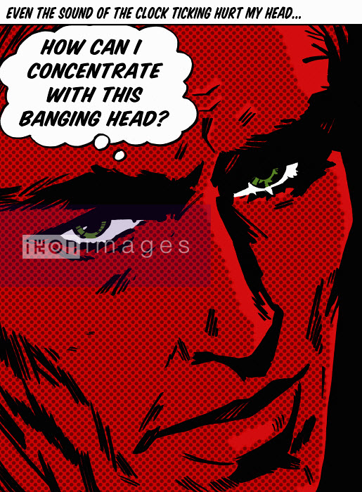 Close up of man with red face complaining of headache in thought bubble - Close up of man with red face complaining of headache in thought bubble - Jacquie Boyd