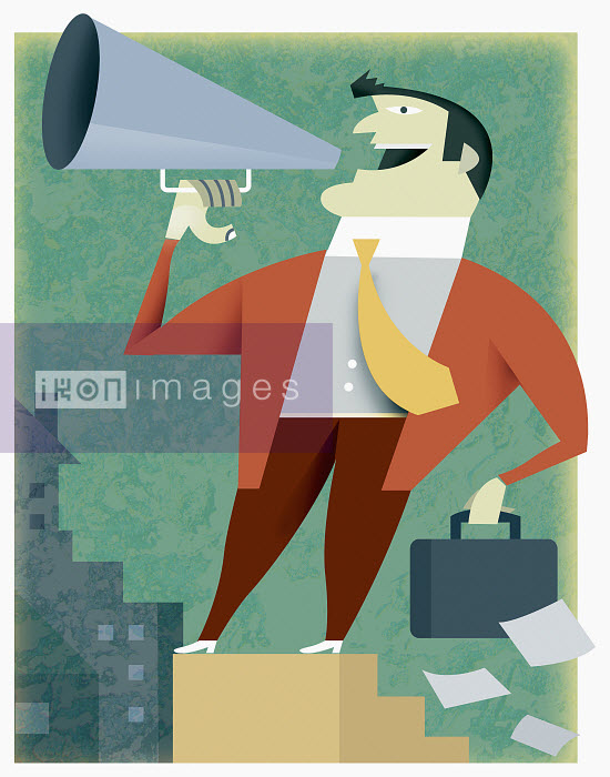 Businessman talking into bullhorn - Businessman talking into bullhorn - Pablo Blasberg