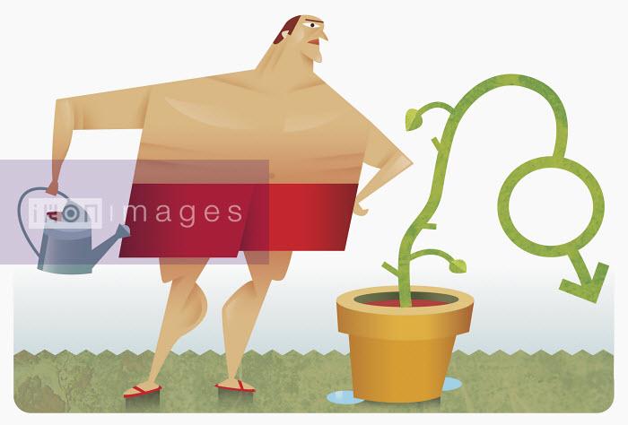 Man watering plant shaped like male symbol - Man watering plant shaped like male symbol - Pablo Blasberg