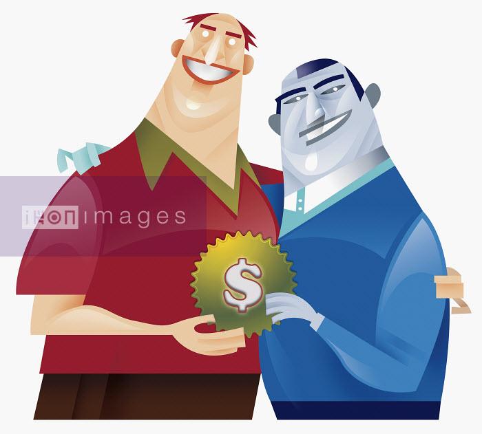 Two men holding cog with dollar sign decoration - Two men holding cog with dollar sign decoration - Pablo Blasberg