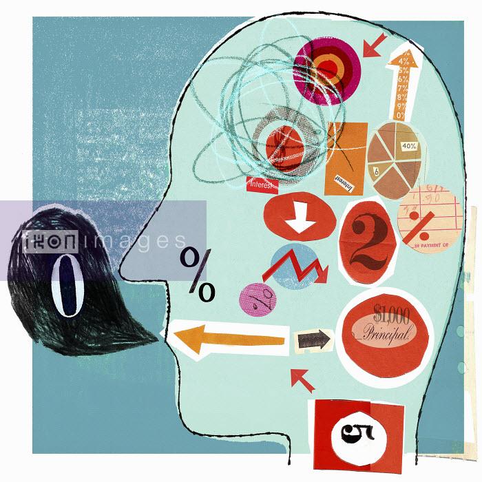 Financial figures inside man's head - Financial figures inside man's head - Donna Grethen