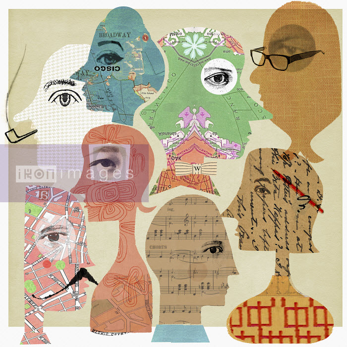 Collage of faces with patterns inside heads - Collage of faces with patterns inside heads - Donna Grethen