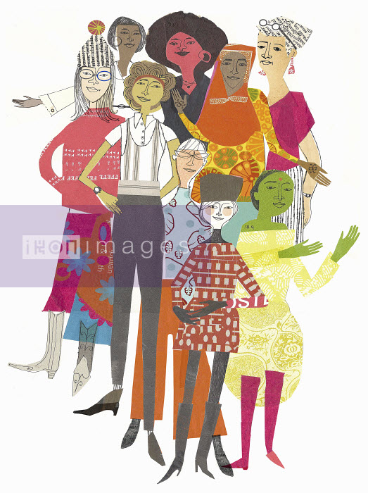 Group of confident multicultural women - Group of confident multicultural women - Donna Grethen