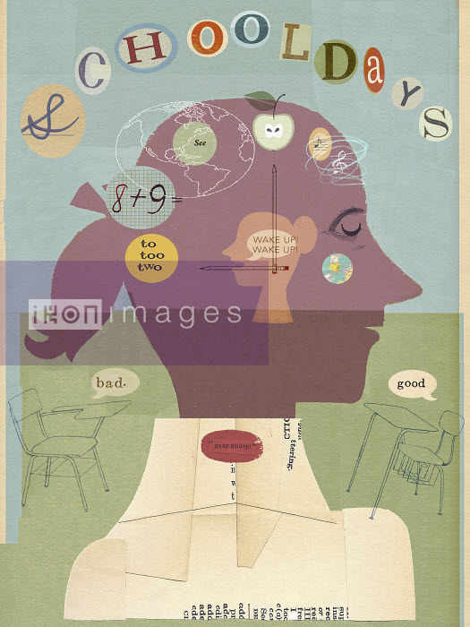 Collage of schoolgirl learning - Collage of schoolgirl learning - Donna Grethen
