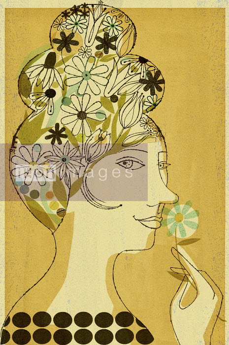 Woman with flowers in her hair smelling at blossom - Woman with flowers in her hair smelling at blossom - Donna Grethen