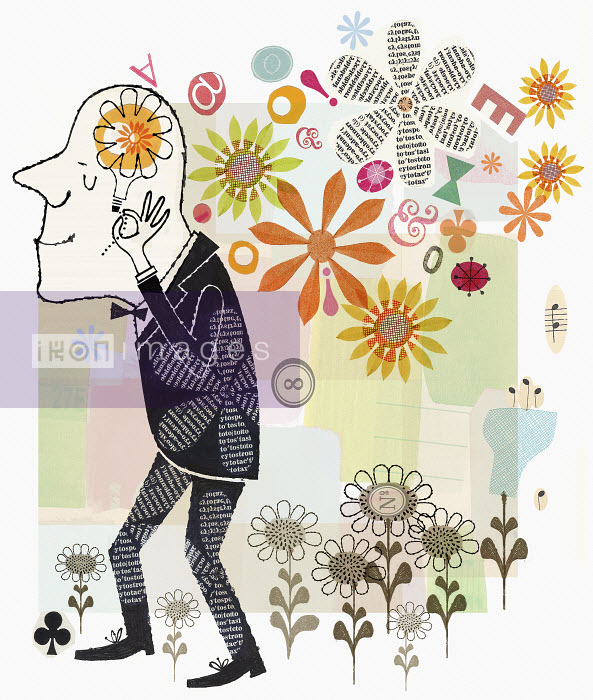 Collage of happy man surrounded by flowers thinking - Collage of happy man surrounded by flowers thinking - Donna Grethen