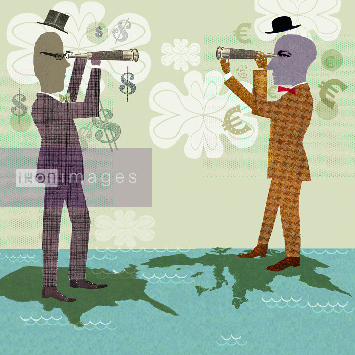 Two businessmen on world map looking through telescopes - Two businessmen on world map looking through telescopes - Donna Grethen
