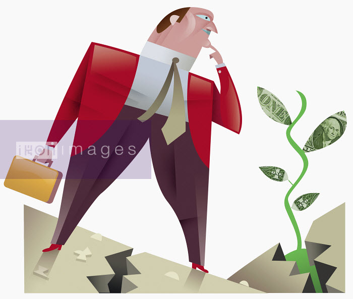 Businessman looking at plant with dollar leaves - Businessman looking at plant with dollar leaves - Pablo Blasberg