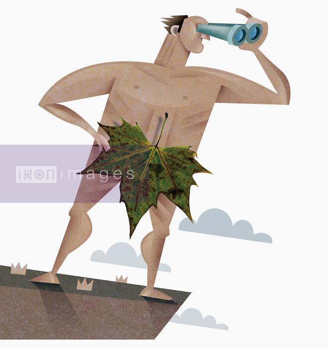 Nude man with leaf using binoculars - Nude man with leaf using binoculars - Pablo Blasberg
