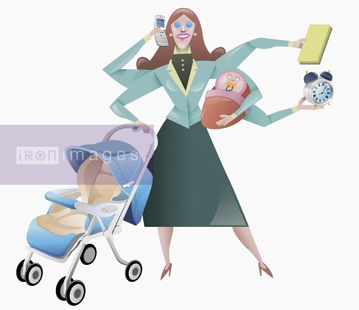 Woman juggling domestic obligations - Woman juggling domestic obligations - Pablo Blasberg