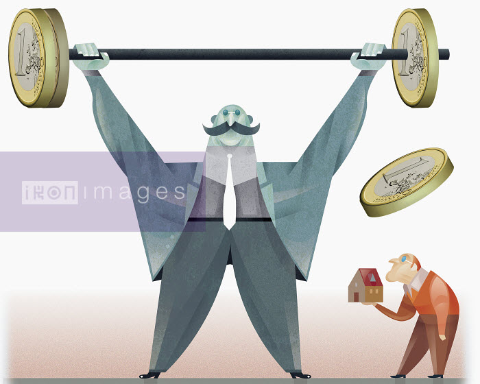 Strong man raising barbell with euro coins for weights - Strong man raising barbell with euro coins for weights - Pablo Blasberg