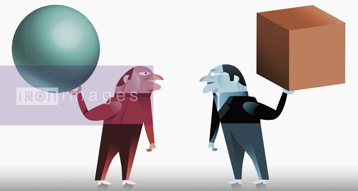 Men holding cube and sphere - Men holding cube and sphere - Pablo Blasberg