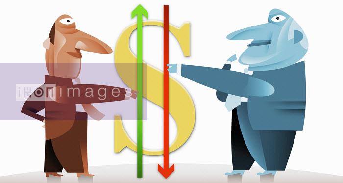 Businessmen holding arrows next to dollar symbol - Businessmen holding arrows next to dollar symbol - Pablo Blasberg