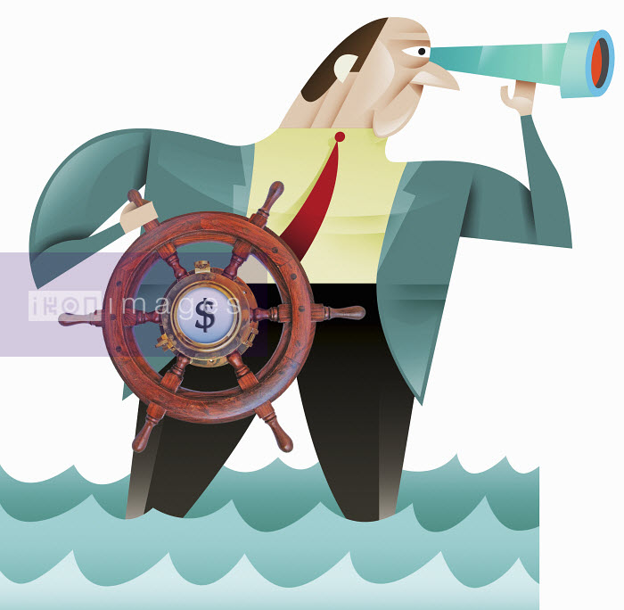 Businessman using steering wheel with dollar symbol - Businessman using steering wheel with dollar symbol - Pablo Blasberg