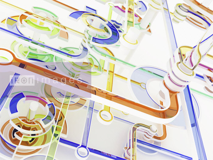 Abstract colorful connecting circles and lines - Abstract colorful connecting circles and lines - K3