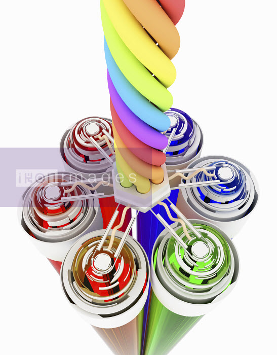 Colorful tubes connecting to multicolored twisting cable - Colorful tubes connecting to multicolored twisting cable - K3