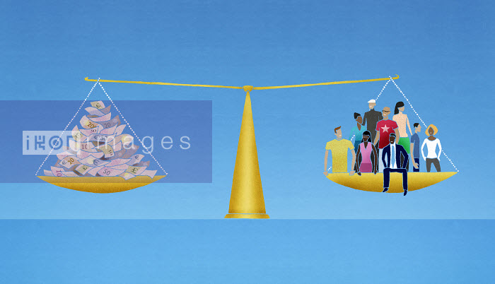 Group of people and money balanced in weighing scale - Group of people and money balanced in weighing scale - Nick Purser