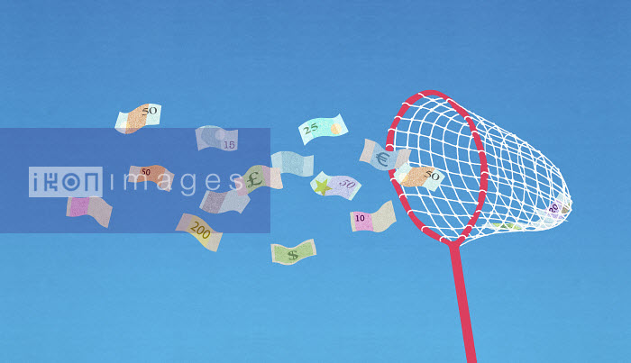 Butterfly net collecting flying banknotes - Butterfly net collecting flying banknotes - Nick Purser