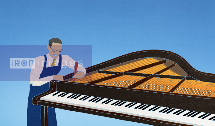 Worker tuning piano - Worker tuning piano - Nick Purser