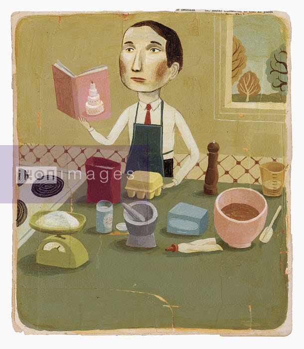 Man with cookbook baking in kitchen - Man with cookbook baking in kitchen - Bjorn Lie