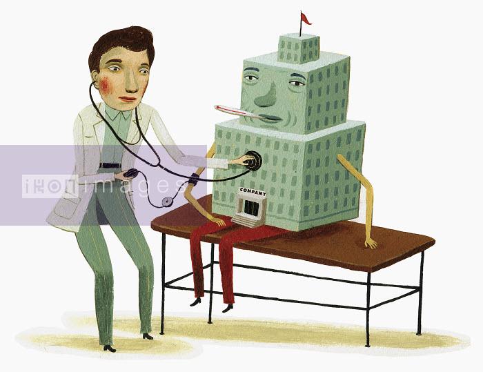 Doctor examining sick building with stethoscope - Doctor examining sick building with stethoscope - Bjorn Lie