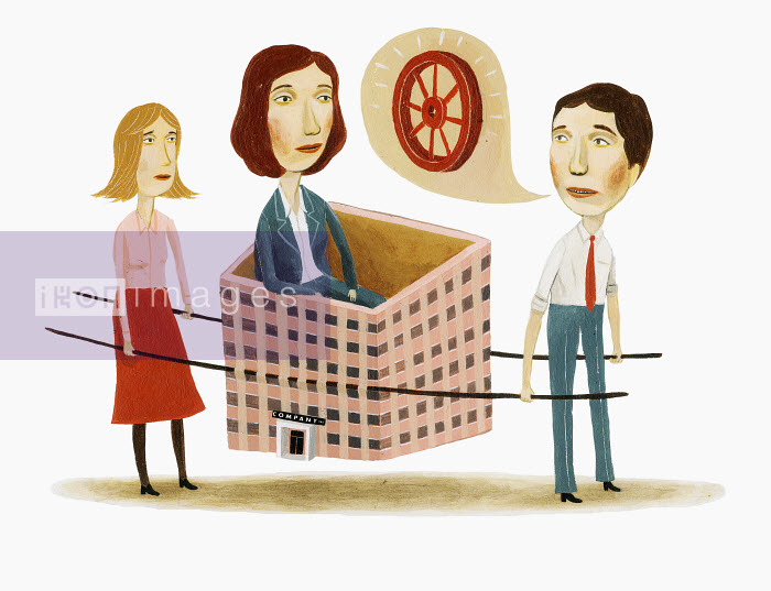 Business people carrying woman in highrise building - Business people carrying woman in highrise building - Bjorn Lie