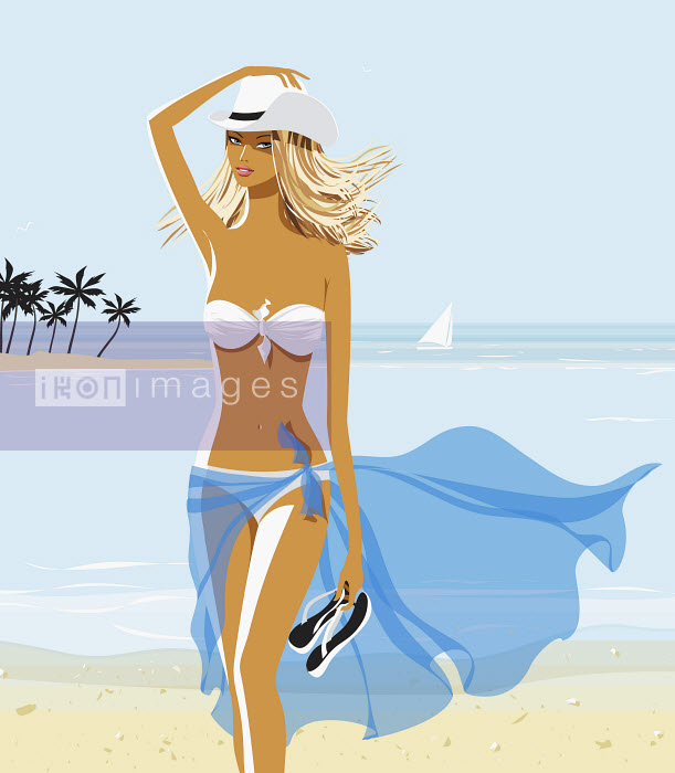 Sexy woman in bikini and cowboy hat on beach - Sexy woman in bikini and cowboy hat on beach - Vlada Kramina