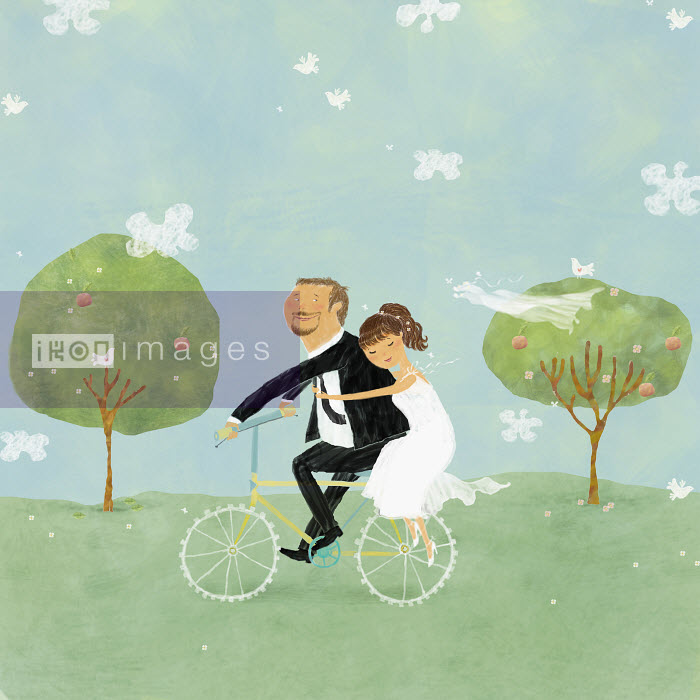 Bride and groom on bicycle in park - Bride and groom on bicycle in park - Vlada Kramina