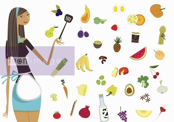 Woman in apron standing with healthy foods - Woman in apron standing with healthy foods - Vlada Kramina