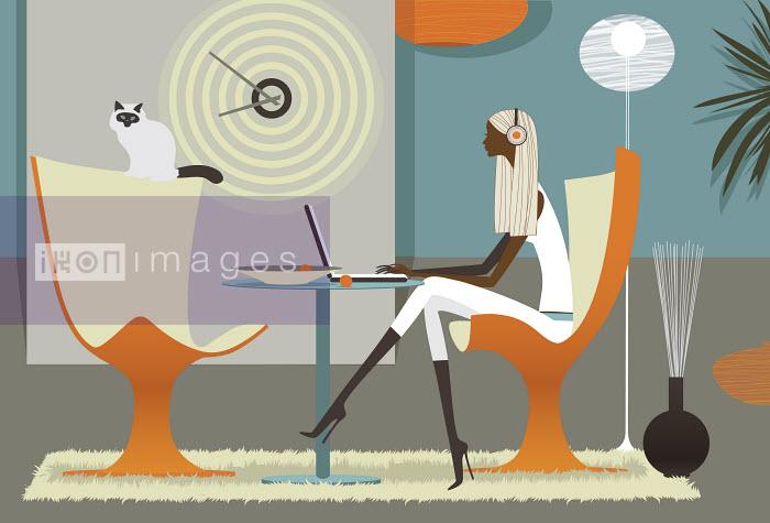 Woman listening to headphones on laptop in stylish interior - Woman listening to headphones on laptop in stylish interior - Vlada Kramina
