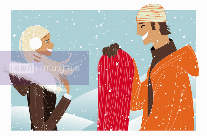 Couple laughing in snow with snowboard - Couple laughing in snow with snowboard - Vlada Kramina