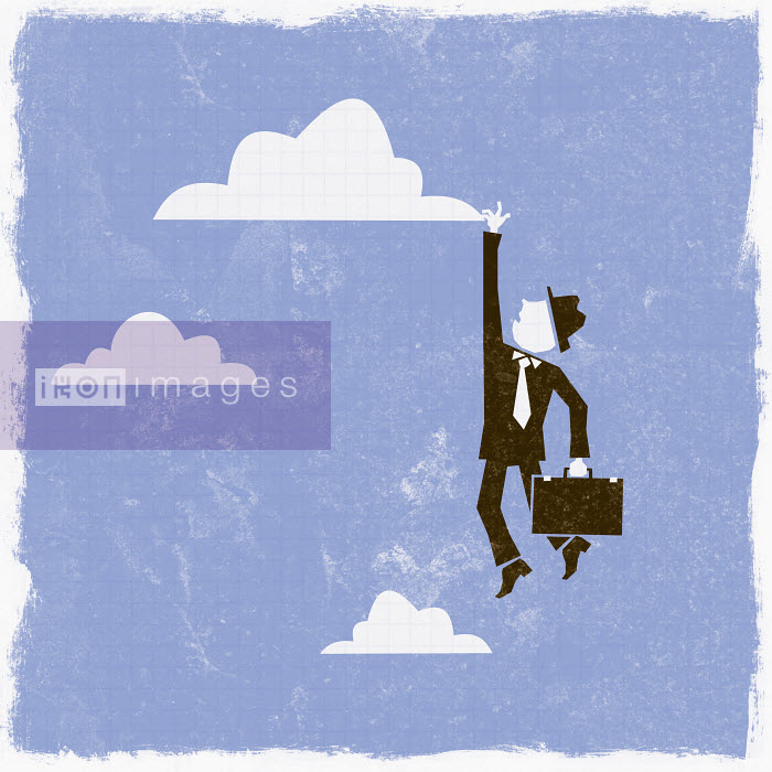 Businessman reaching for cloud - Businessman reaching for cloud - Ben Sanders