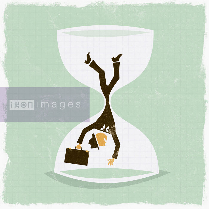 Businessman falling in hourglass - Businessman falling in hourglass - Ben Sanders