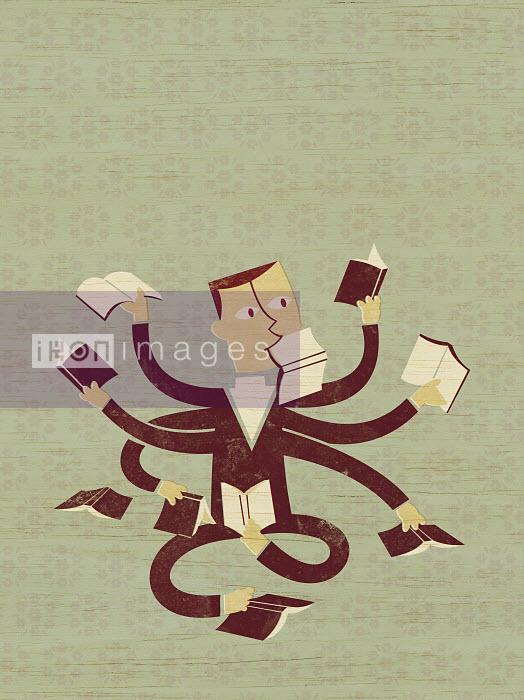 Multiple armed businessman reading books - Multiple armed businessman reading books - Ben Sanders
