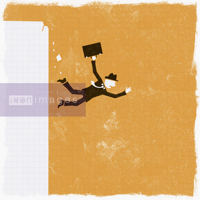 Businessman falling off cliff - Businessman falling off cliff - Ben Sanders