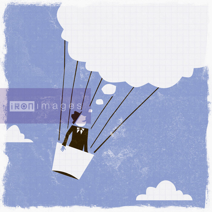 Thought bubble above businessman in hot air balloon - Thought bubble above businessman in hot air balloon - Ben Sanders