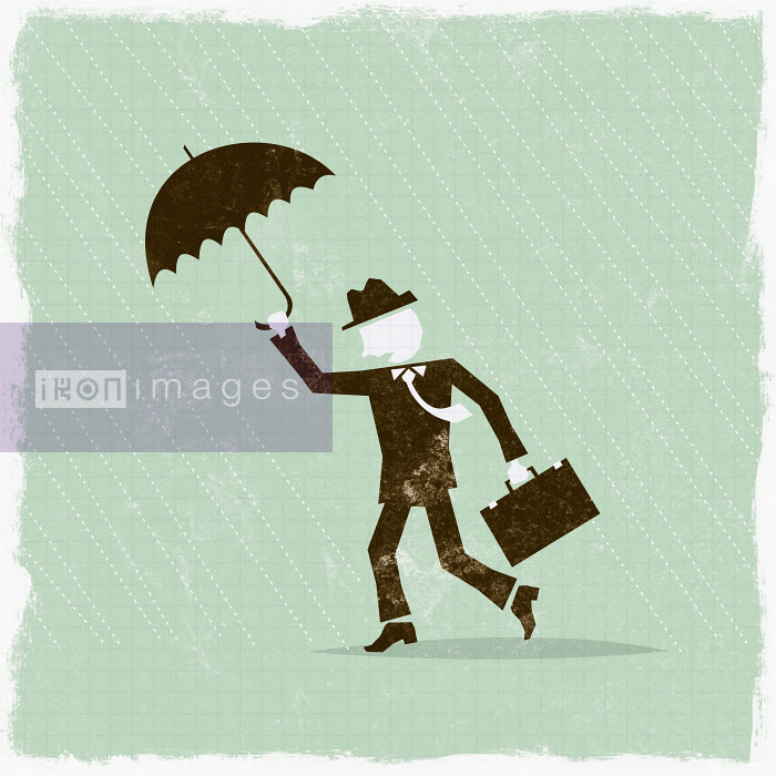 Businessman with umbrella weathering the storm - Businessman with umbrella weathering the storm - Ben Sanders