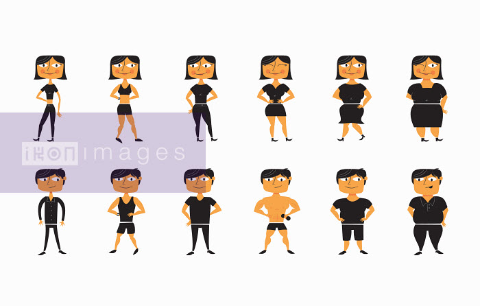 Sequence of man and woman from thin to overweight - Sequence of man and woman from thin to overweight - Ben Sanders