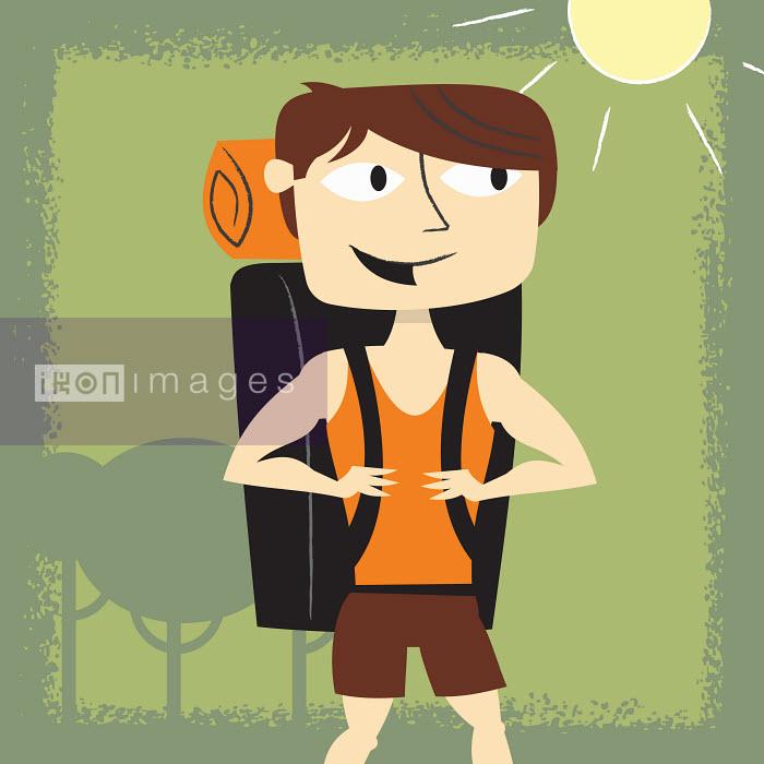Smiling man backpacking in summer - Smiling man backpacking in summer - Ben Sanders