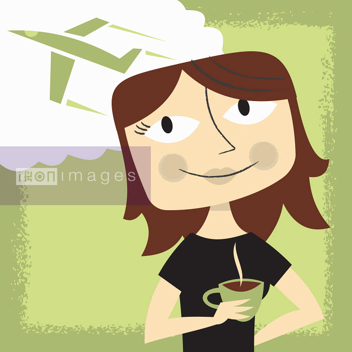Woman drinking coffee daydreaming about travel - Woman drinking coffee daydreaming about travel - Ben Sanders