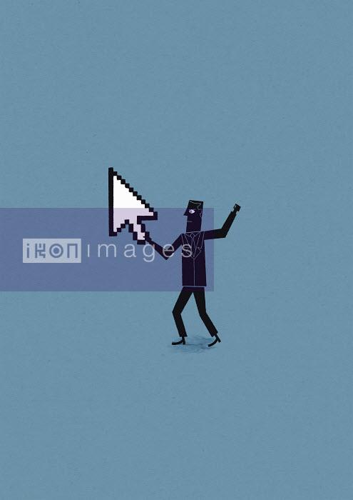 Man holding cursor arrow defending cyber attack - Man holding cursor arrow defending cyber attack - Ben Sanders