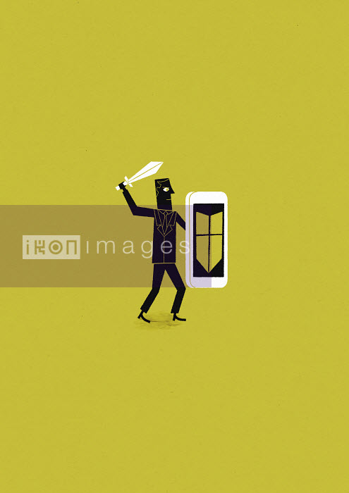 Man holding sword and shield protecting smartphone from cyber attack - Man holding sword and shield protecting smartphone from cyber attack - Ben Sanders