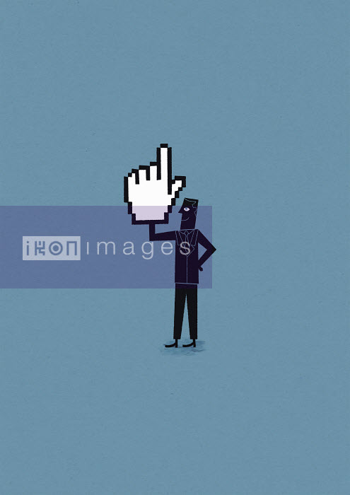Confident man holding cursor hand - Confident man holding cursor hand - Ben Sanders